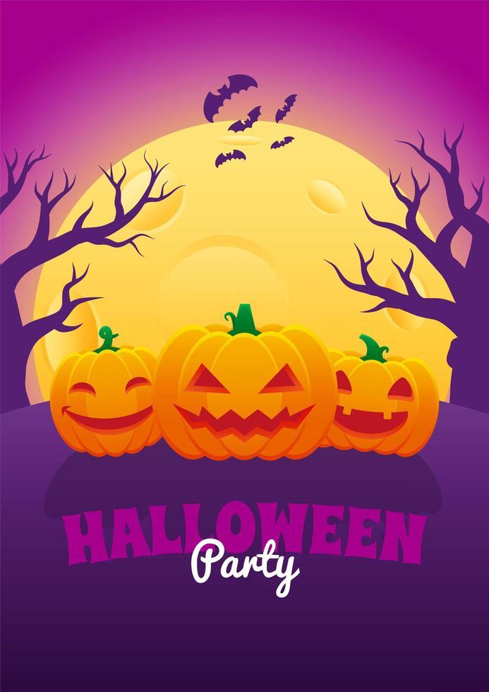poster di halloween con lanterne jack o e luna piena vettore