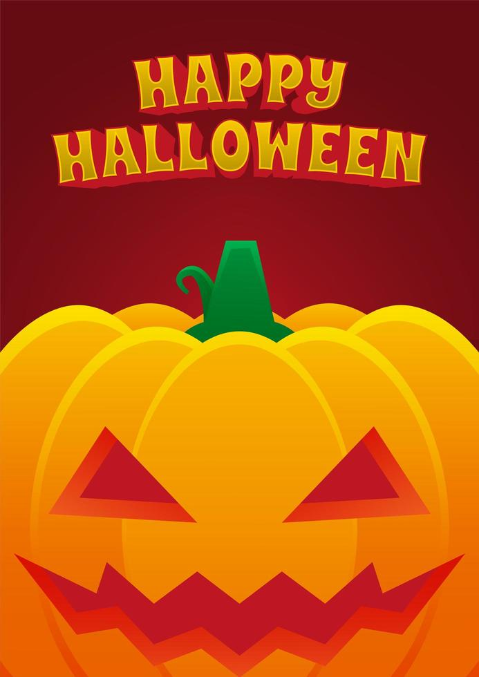 manifesto dell'evento di Halloween con zucca malvagia vettore