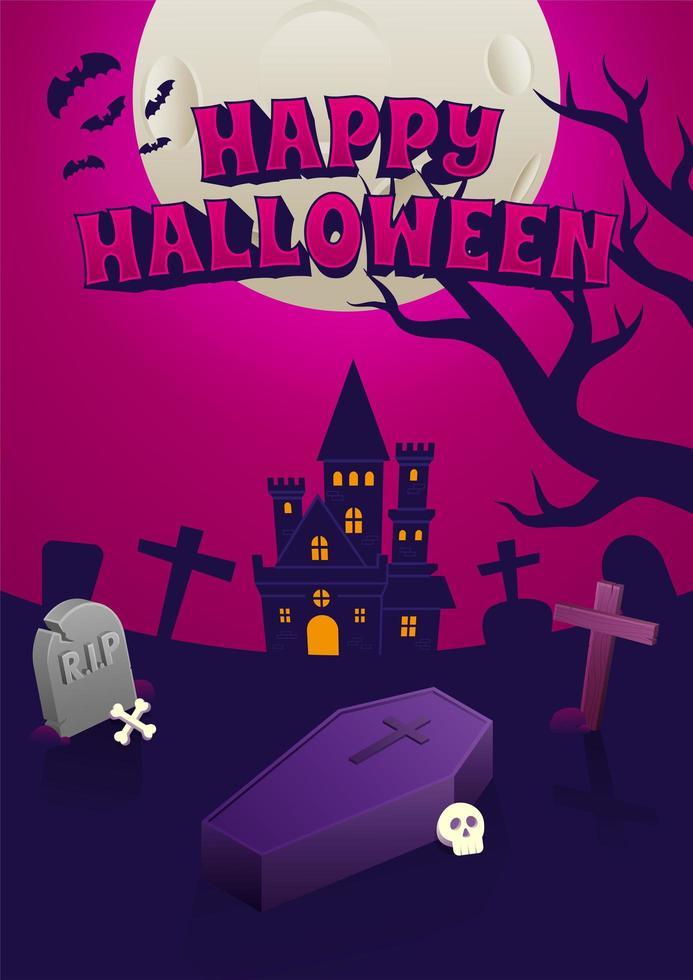 poster di Halloween con il castello inquietante di notte vettore
