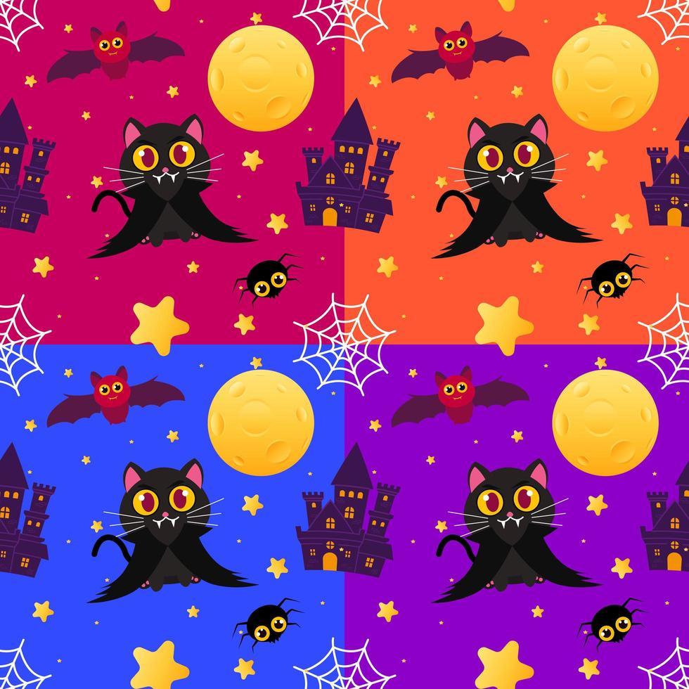 modello senza cuciture di halloween colorato con gatto vampiro vettore