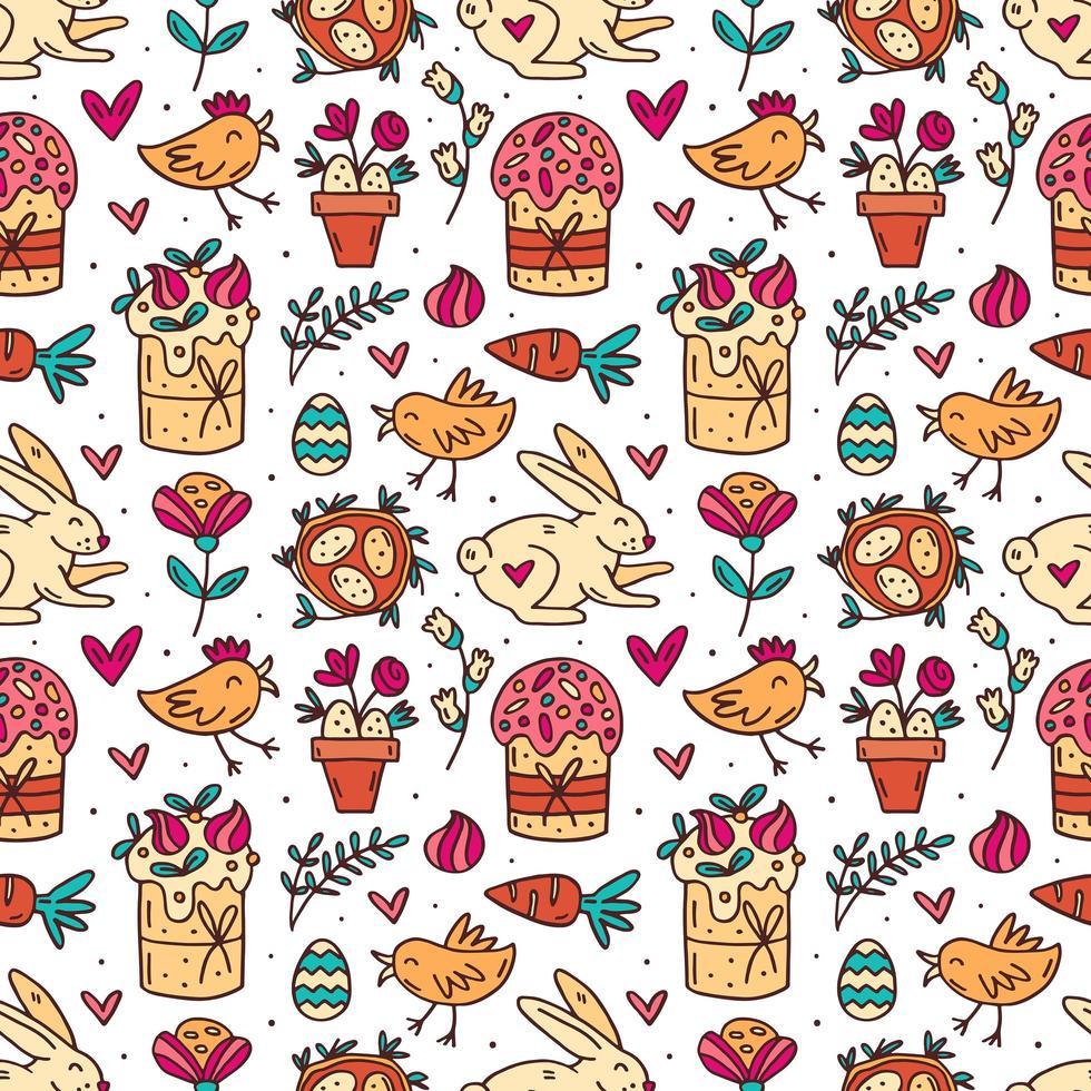 carino divertente pasqua doodle pattern vettore