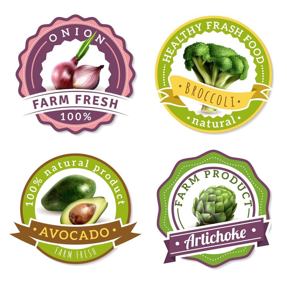 set di etichette con verdure realistiche vettore