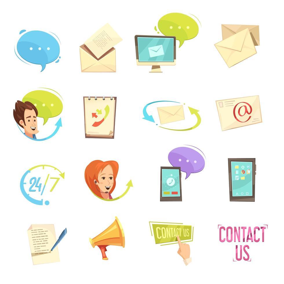 set di icone di contatto del servizio clienti vettore