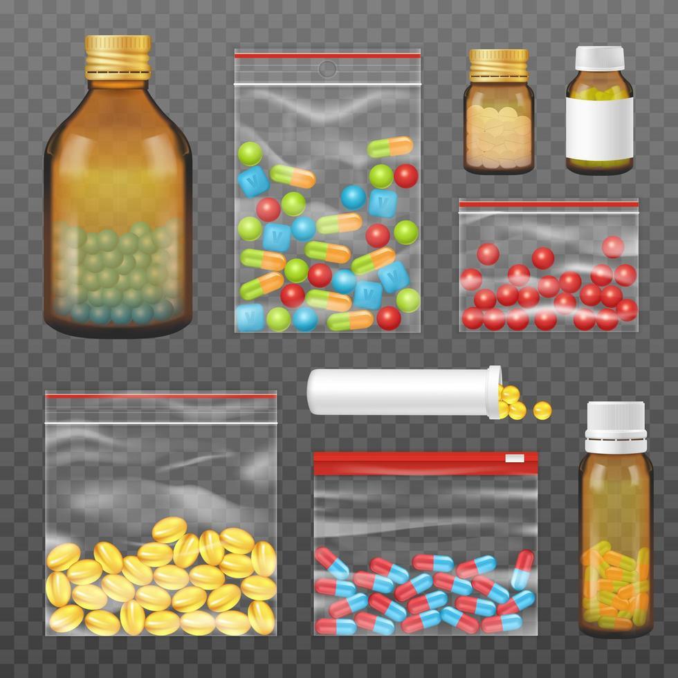 pacchetto trasparente realistico di set di medicinali vettore