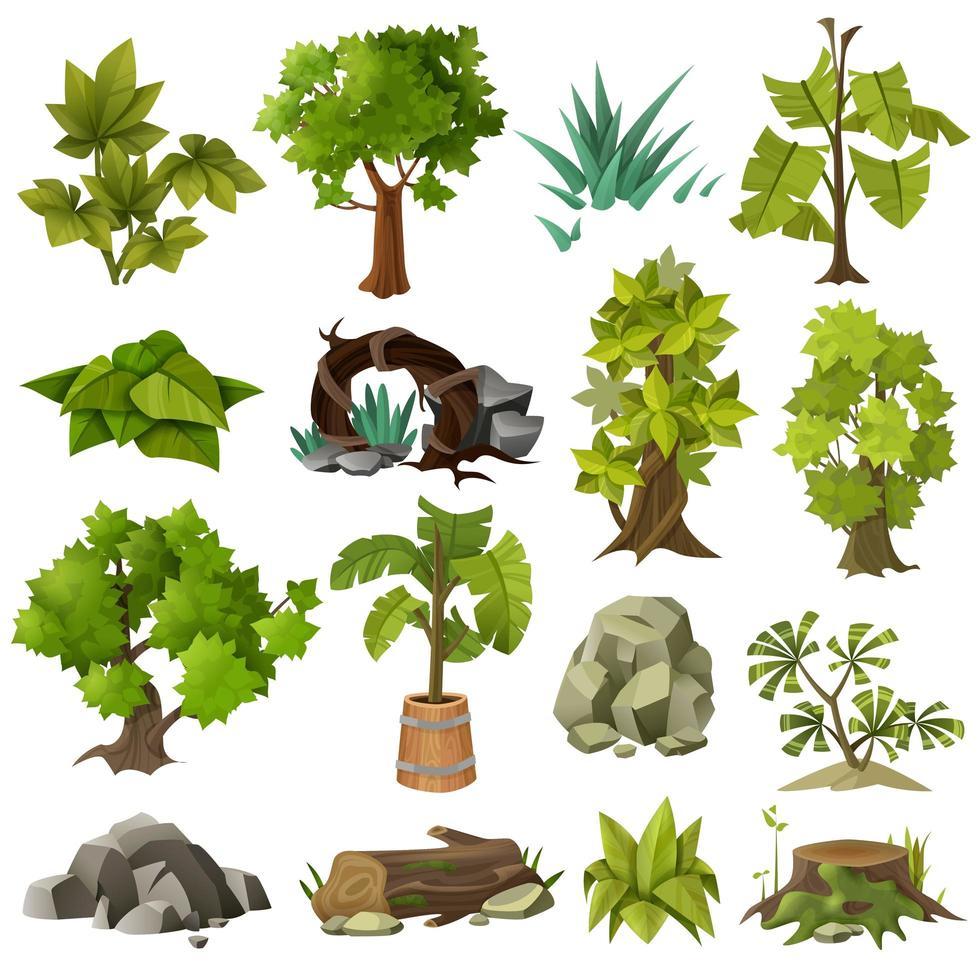 insieme di alberi ed elementi della natura vettore