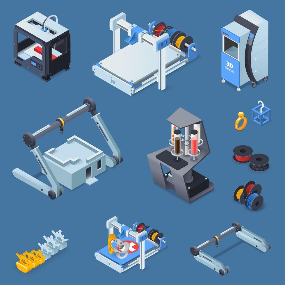 set di attrezzature per la stampa 3d isometrica vettore