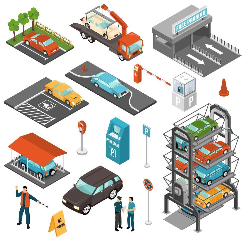 set di garage parcheggio isometrico vettore