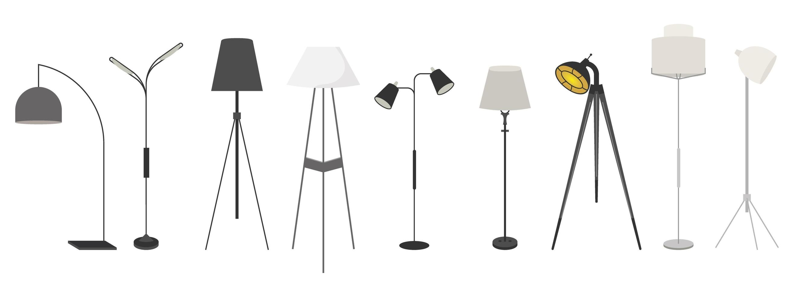 lampade impostate isolato su bianco vettore