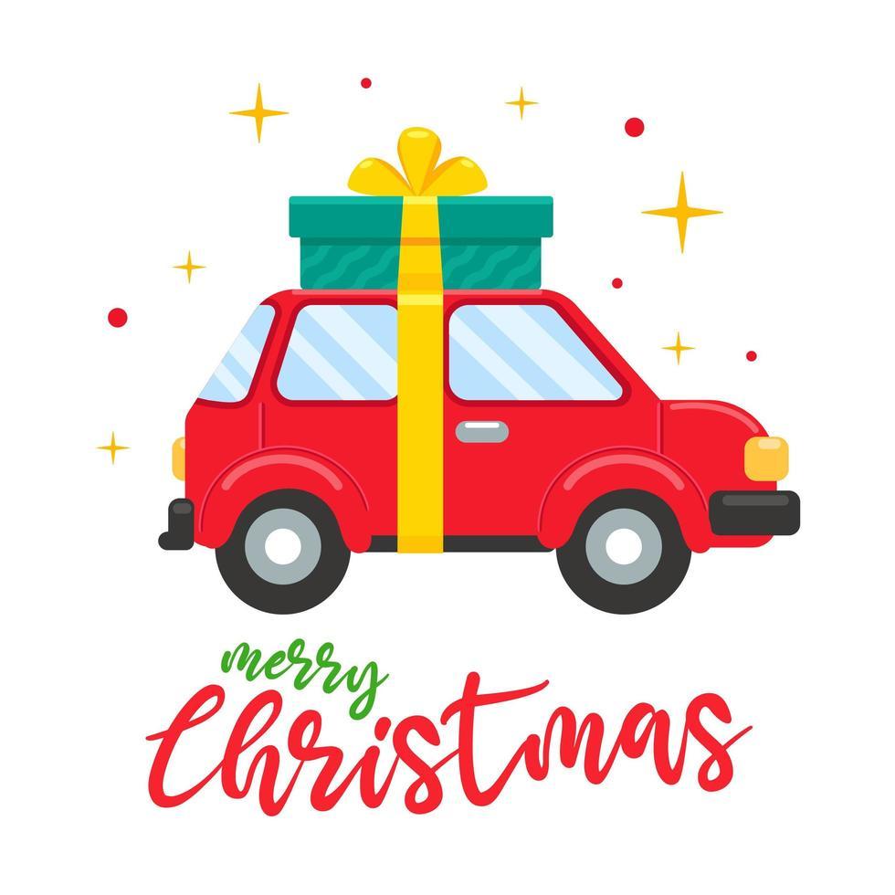 macchina rossa il giorno di Natale portando una grande confezione regalo vettore