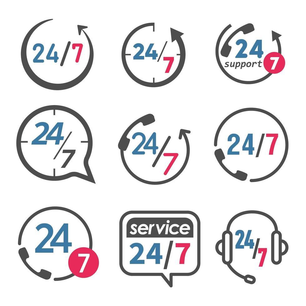 24 7 set di icone di assistenza e supporto vettore