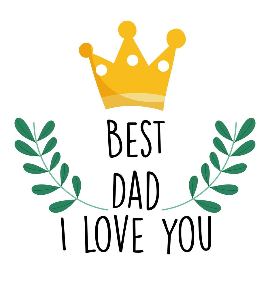 corona e miglior papà ti amo carta vettore