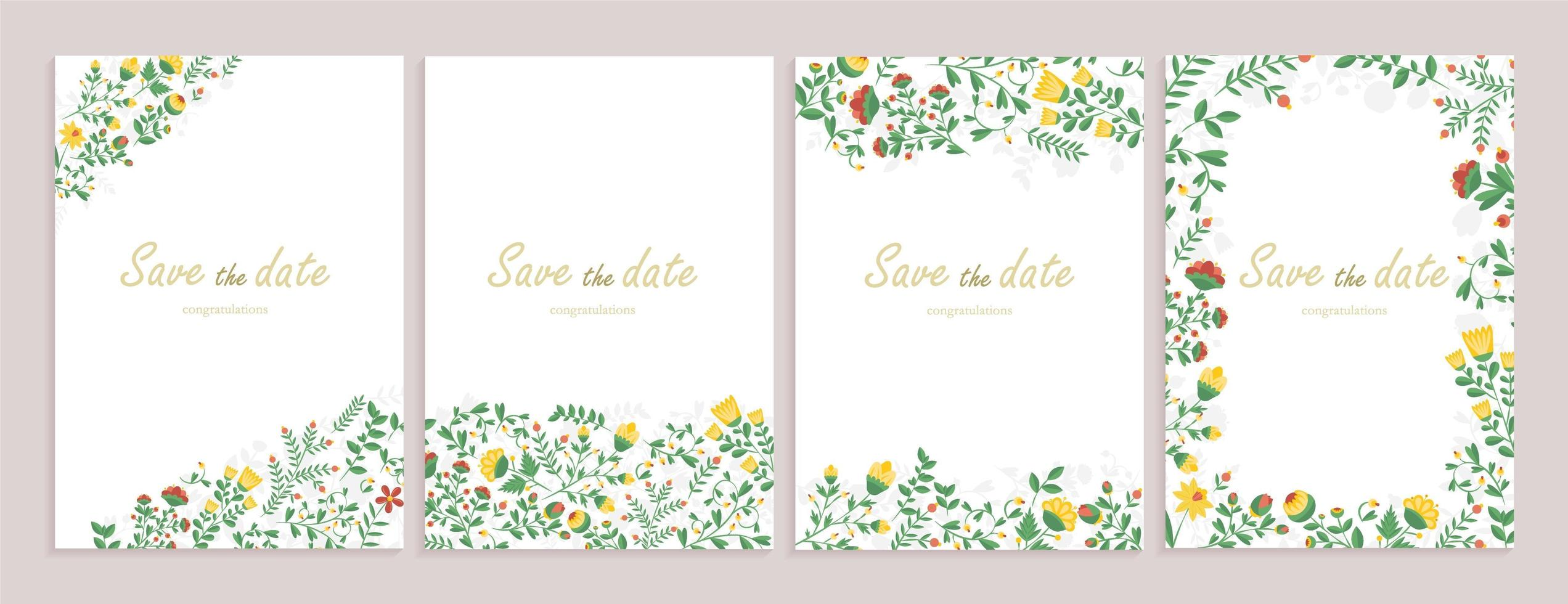 set di biglietti di auguri con decorazioni floreali. vettore