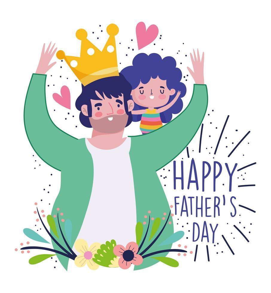 papà con la corona che porta la figlia sulle spalle vettore