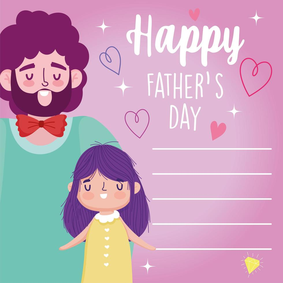 padre con figlia il giorno dei padri vettore