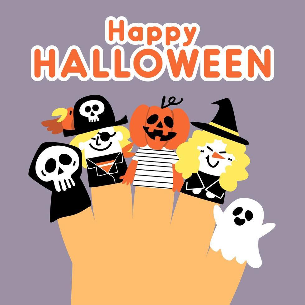 simpatico disegno felice bambola con dita di halloween vettore