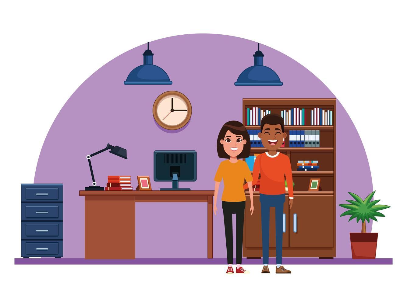 coppia avatar personaggio dei cartoni animati ritratto vettore