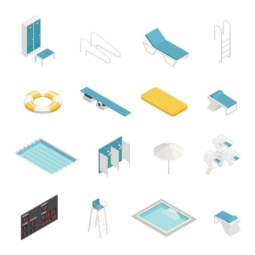 set di elementi piscina isometrica vettore