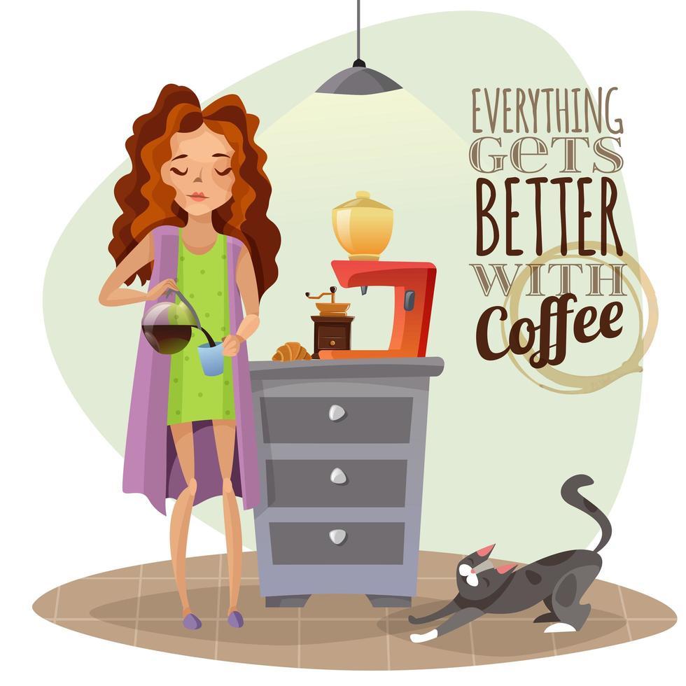 giovane donna che beve caffè vettore