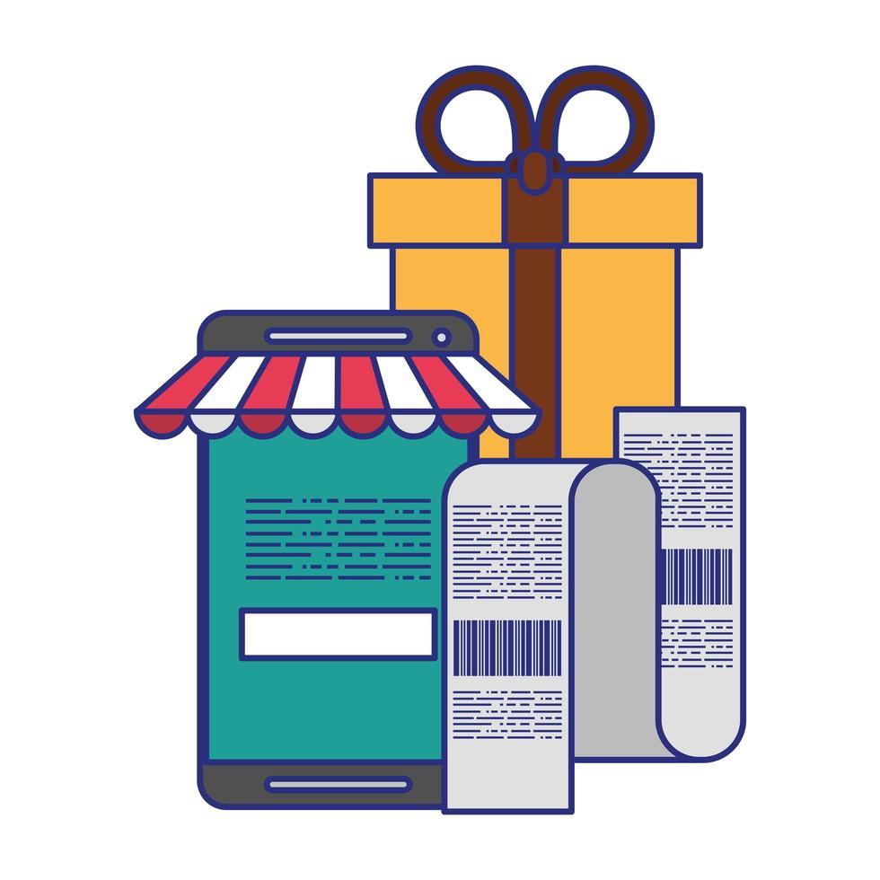 shopping online e simboli di tecnologia di pagamento vettore