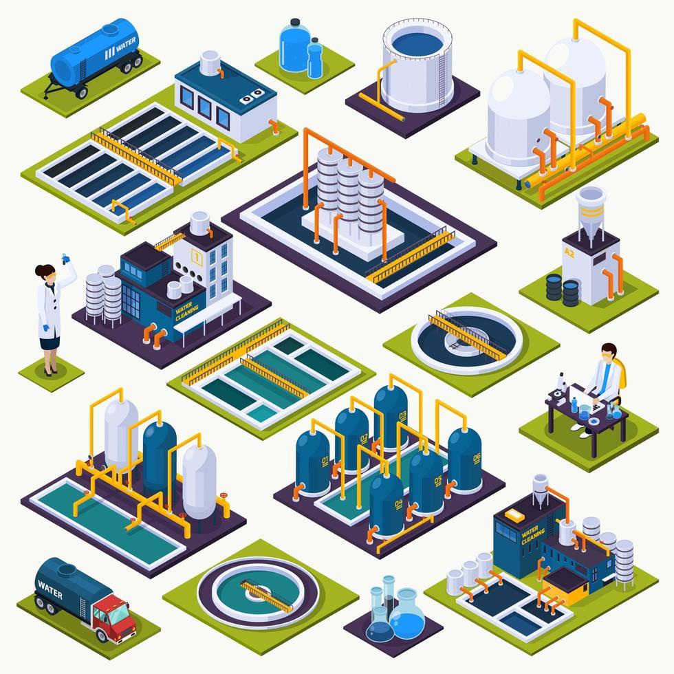 set di icone di stazioni di trattamento delle acque isometriche vettore
