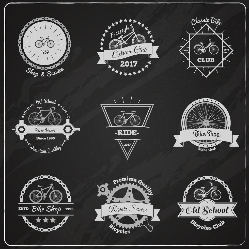 set di loghi di biciclette lavagna vintage vettore