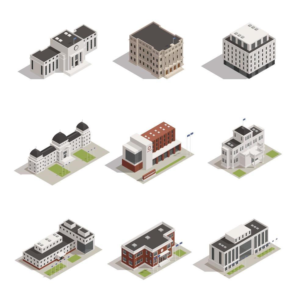 set di icone di edifici governativi isometrici vettore