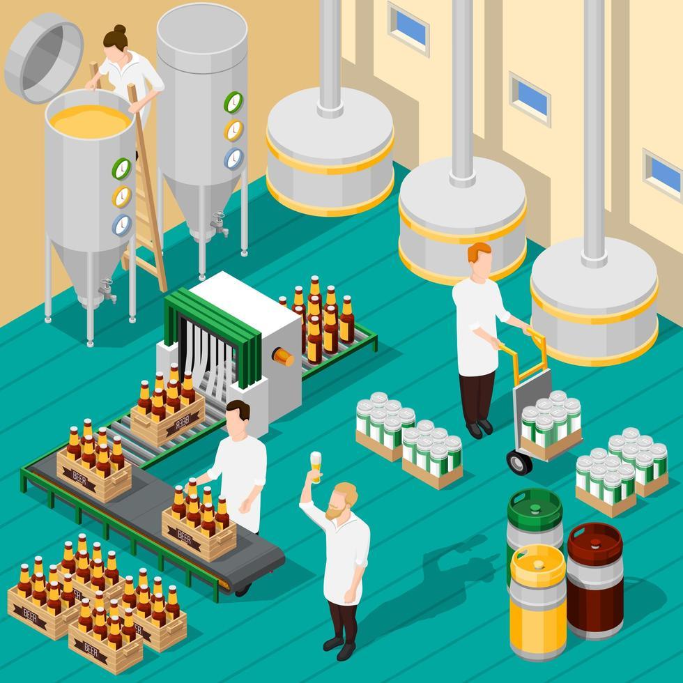 azienda di birra isometrica vettore