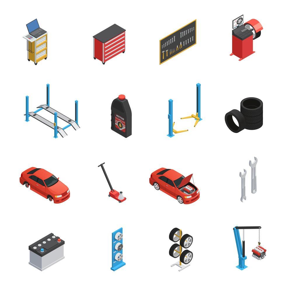 set di icone di servizio di riparazione auto isometrica vettore