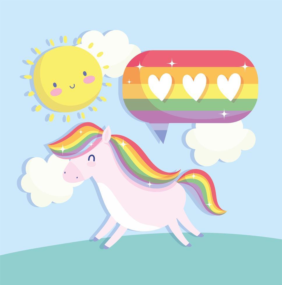 unicorno lgbti, bolla e cartone animato sole vettore