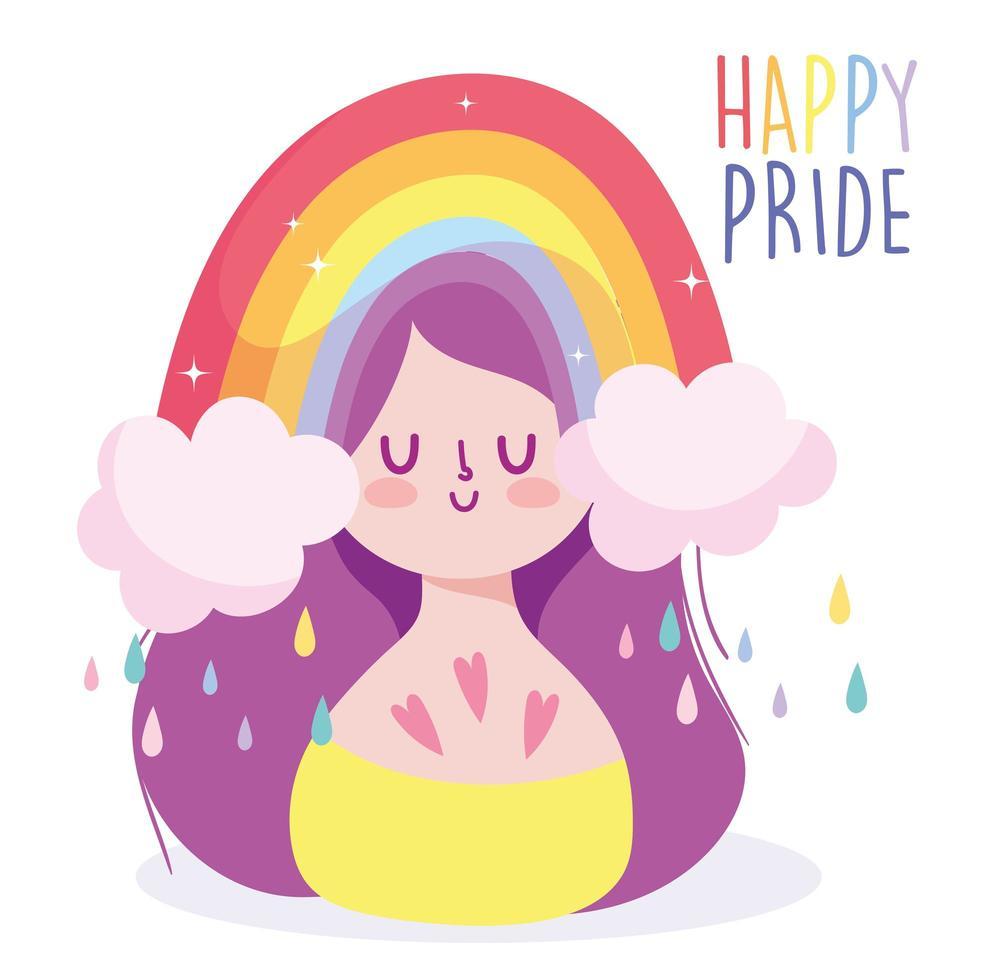cartone animato ragazza con arcobaleno lgbti vettore