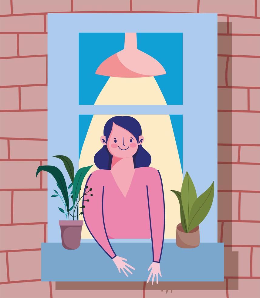 donna che guarda la finestra con pianta in vaso vettore