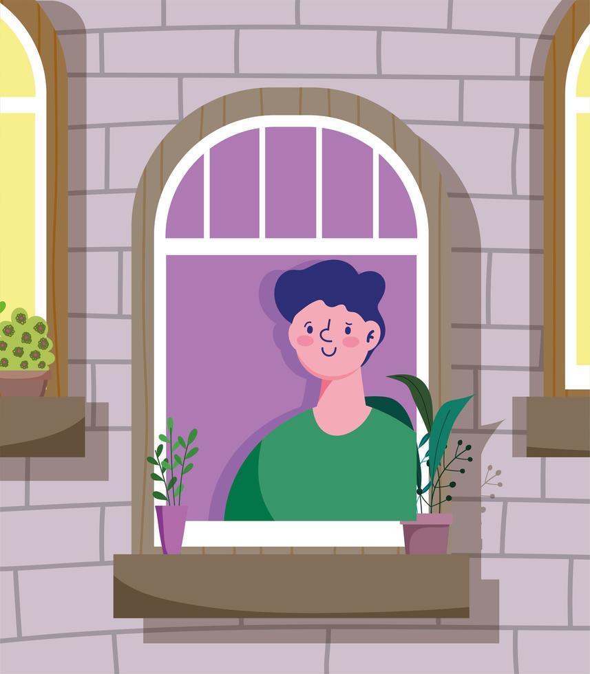 giovane che guarda fuori dalla finestra, edificio esterno vettore