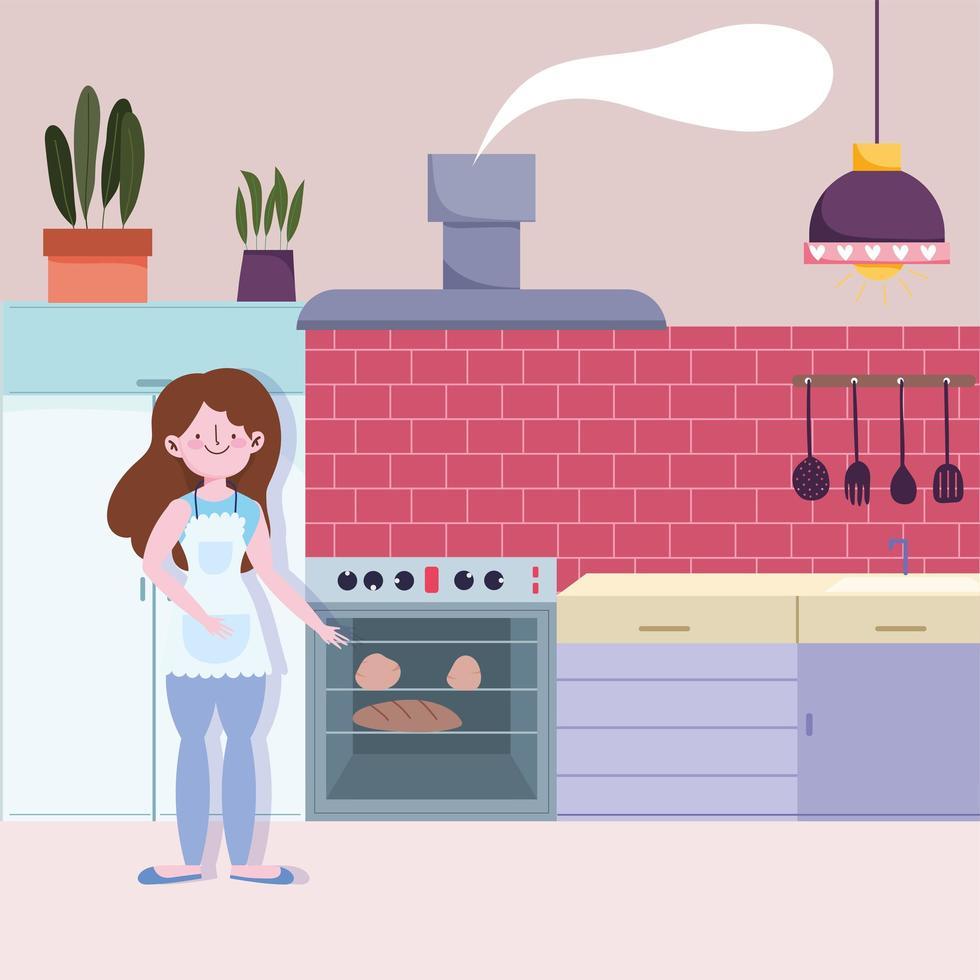 ragazza cuocere il pane in cucina vettore