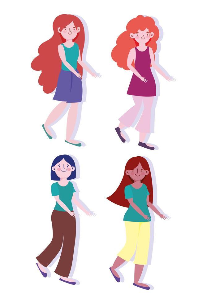 set di personaggi dei cartoni animati di giovani donne vettore