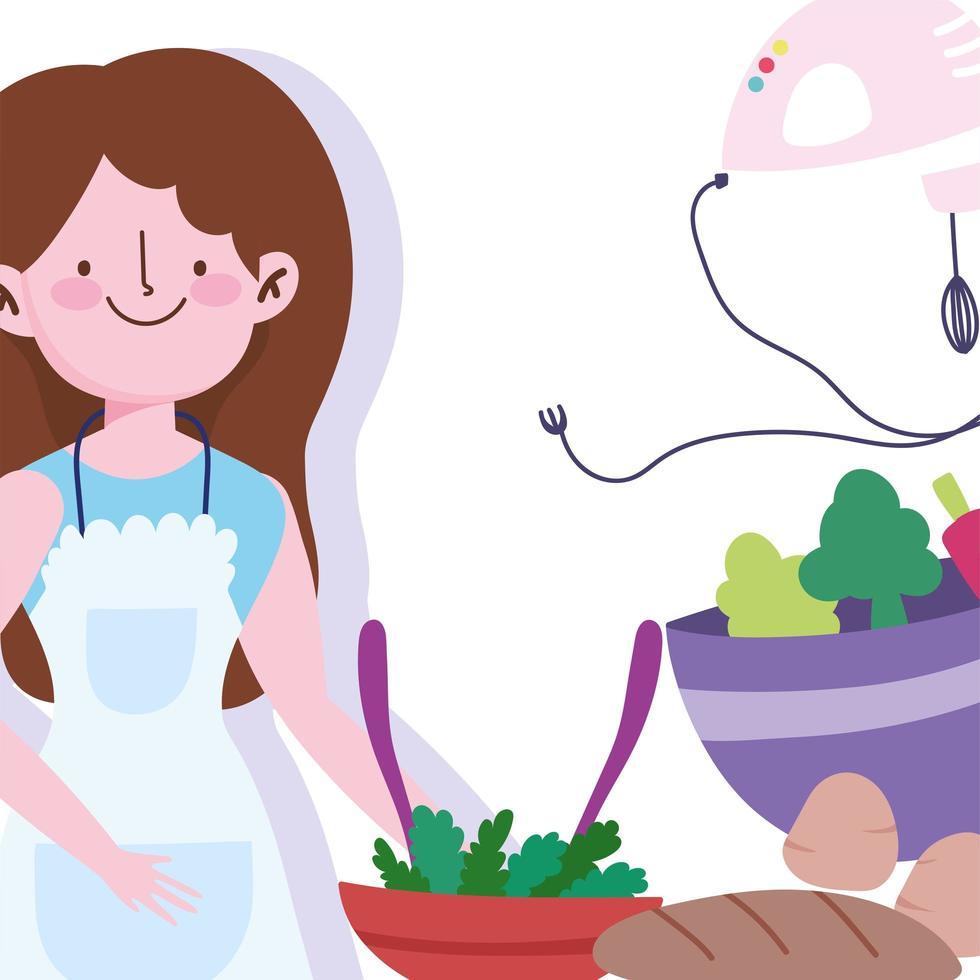 ragazza con pane, cottura del cibo e frullatore elettrico vettore