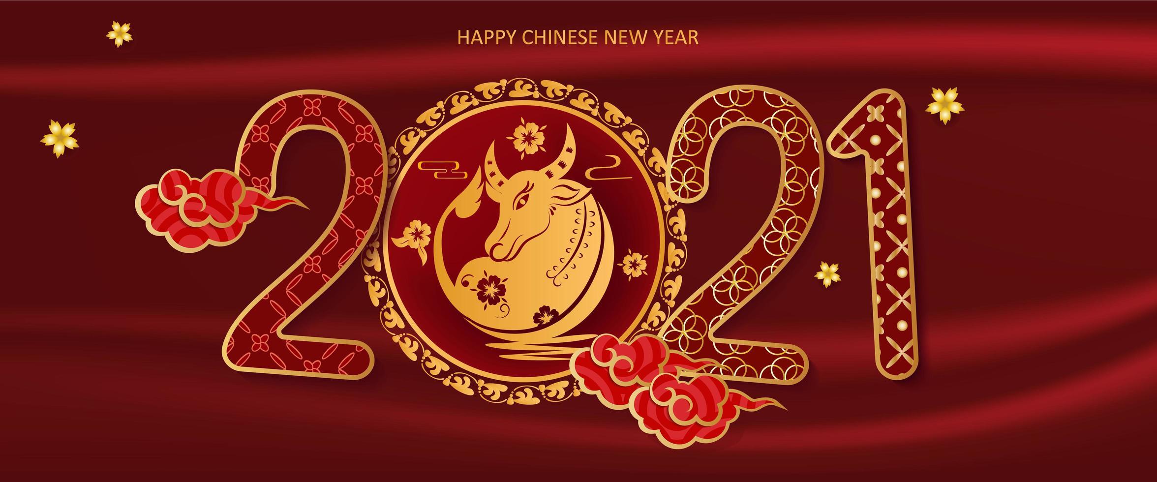 capodanno cinese 2021 anno della bandiera del bue vettore
