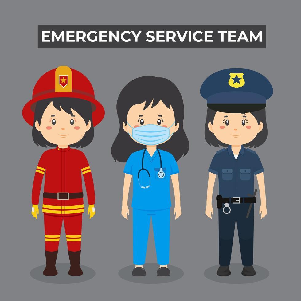 set di caratteri del team di servizio di emergenza ragazza vettore