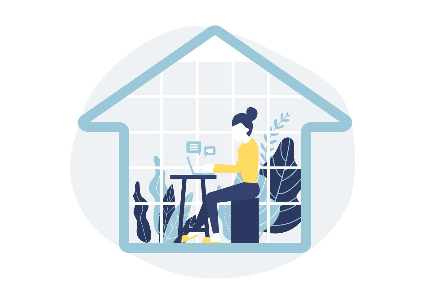 donna seduta alla scrivania in casa con il computer portatile vettore