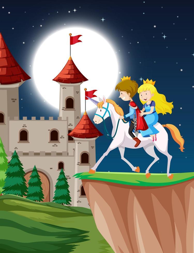 principe e principessa che cavalcano un unicorno fantasy di notte vettore