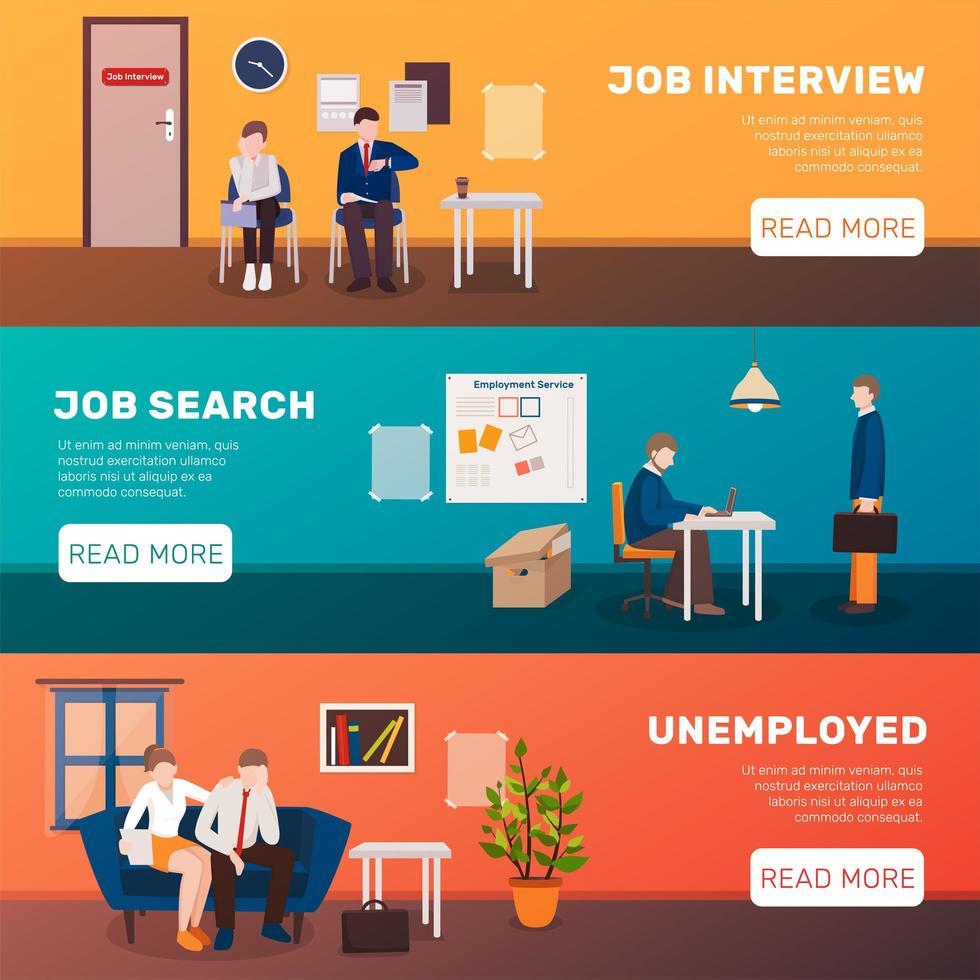 set di banner modello di disoccupazione vettore