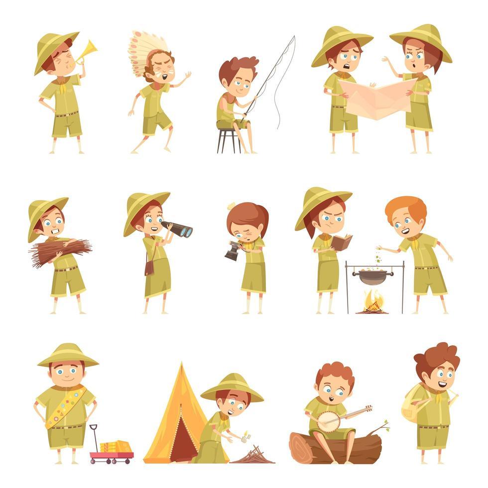set di boy e girl scout vettore