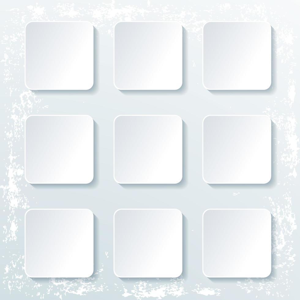 pulsanti quadrati vuoti con ombra isolato su grunge vettore