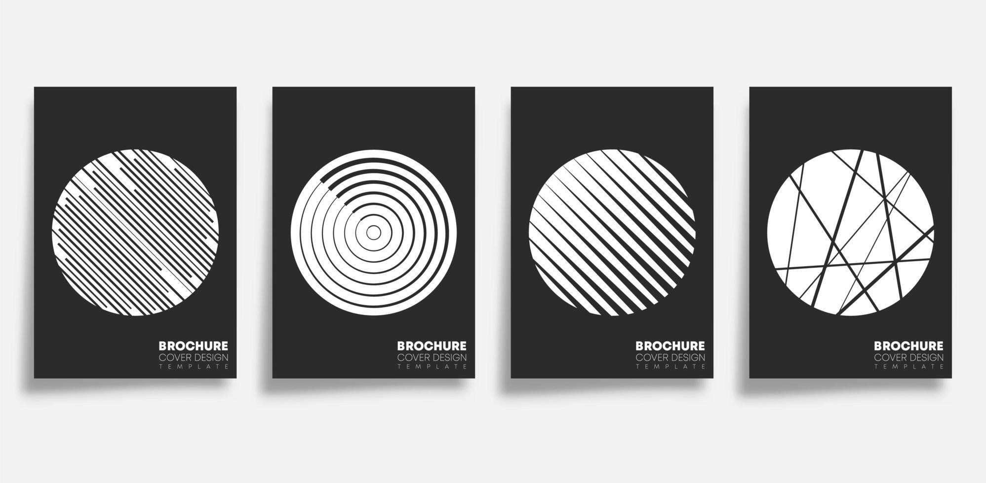 set di copertine di forme geometriche cerchio e linea vettore