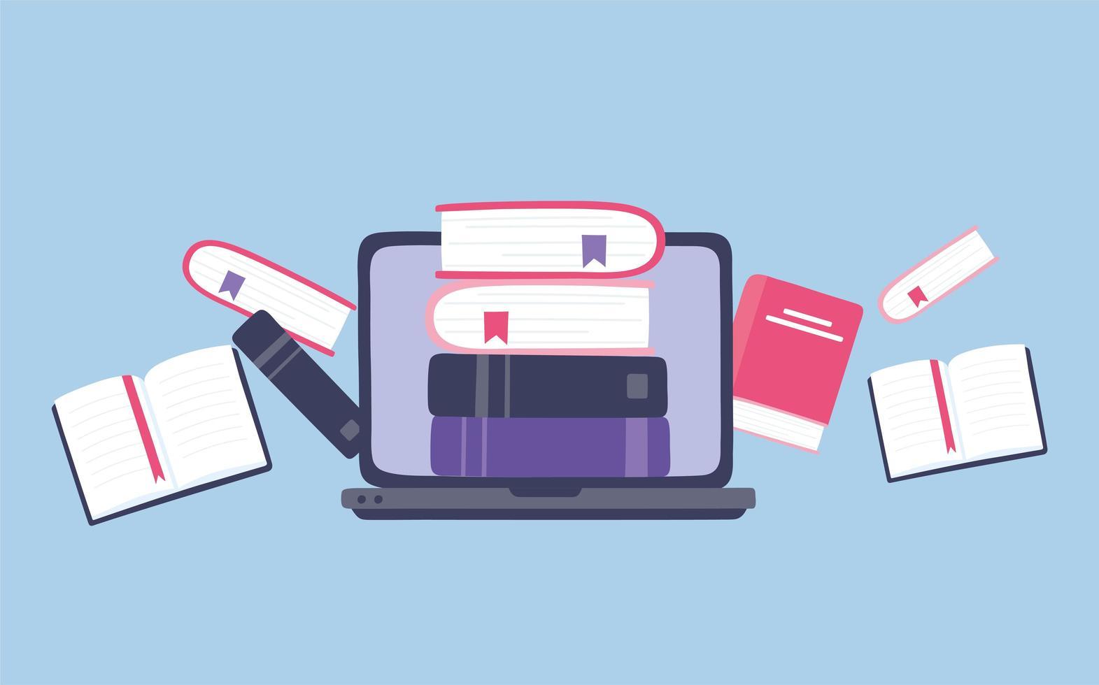 formazione in linea. laptop e libri di istruzione vettore