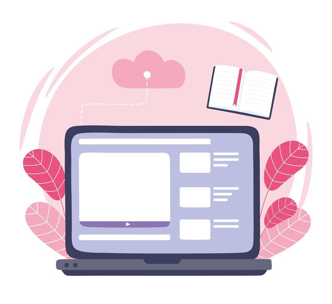 formazione in linea. lezione di libro sul laptop. vettore