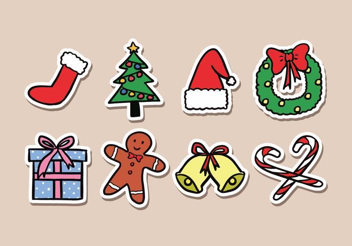 Icone dell'autoadesivo di Natale vettore