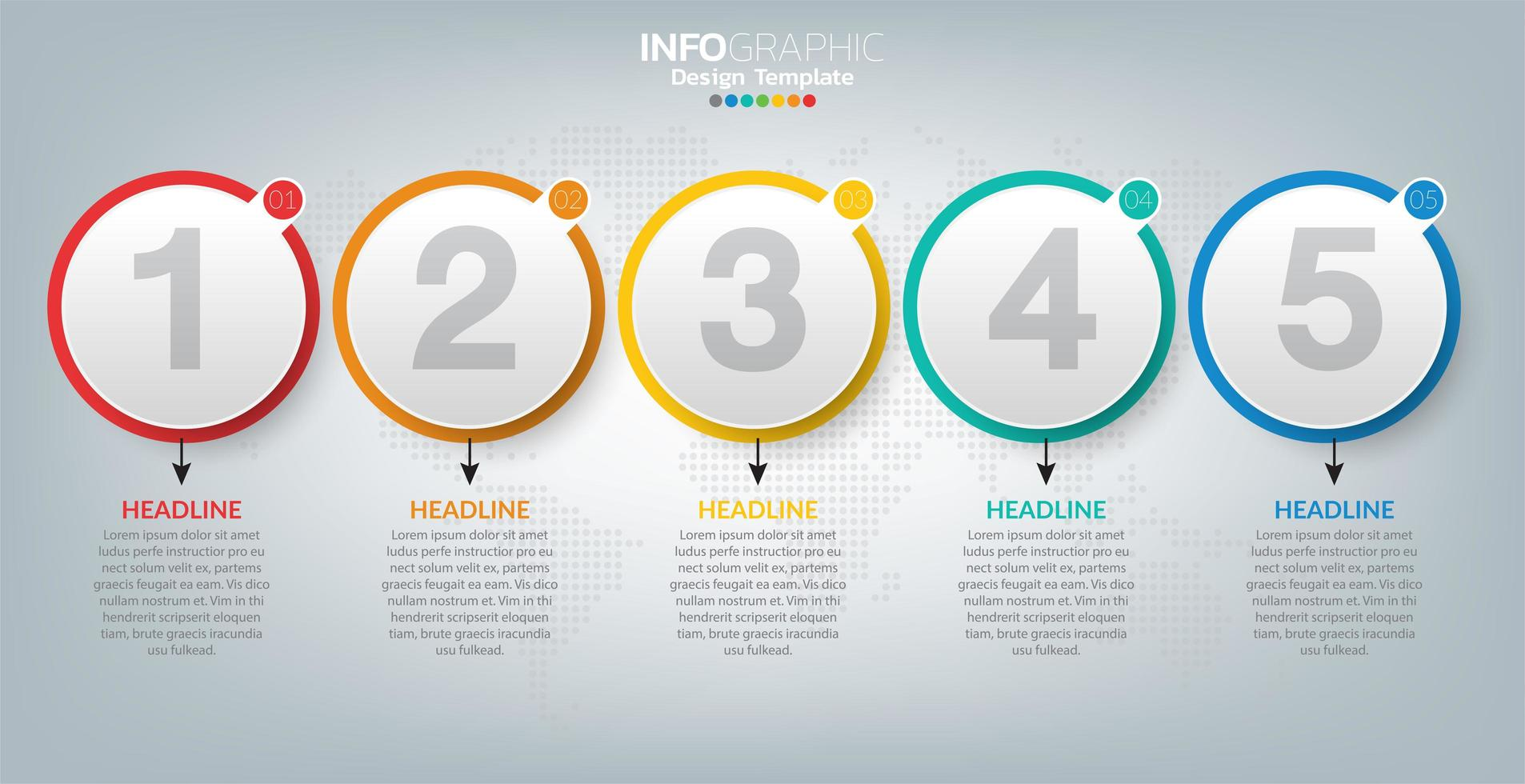 modello di infografica con icone e 5 elementi o passaggi. vettore