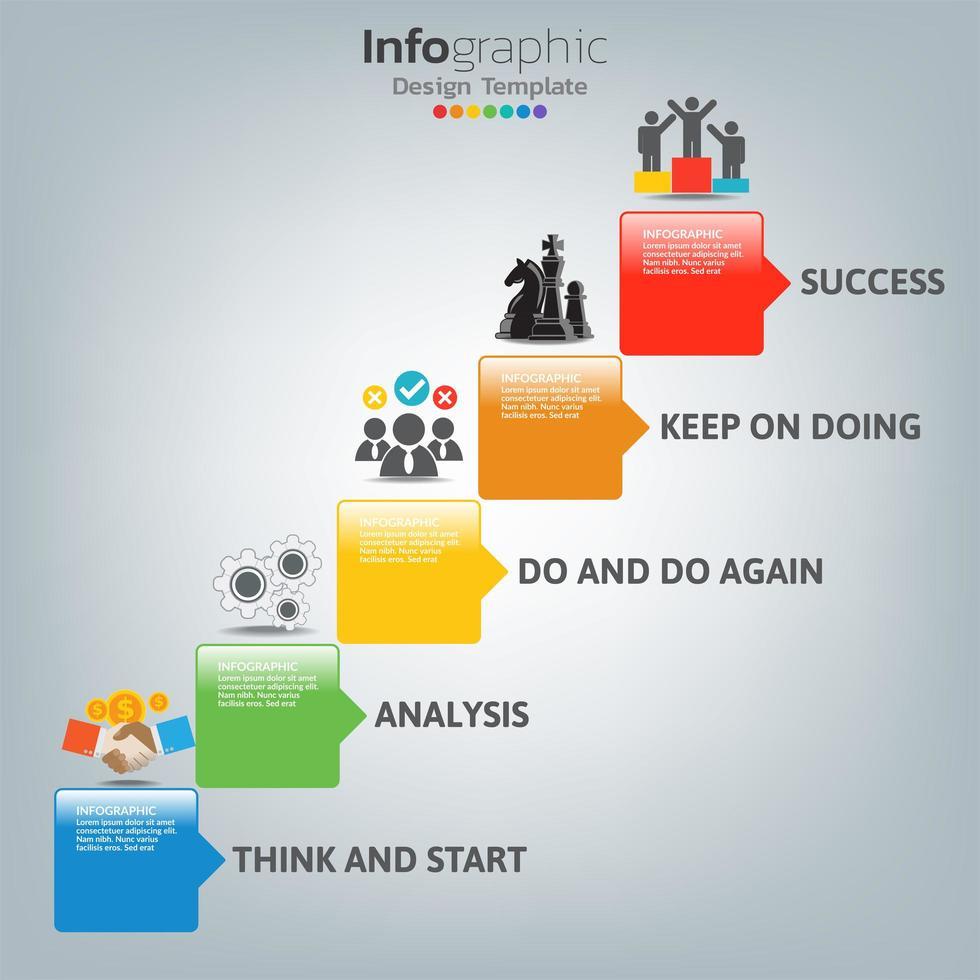 modello di infografica di successo con gradini delle scale vettore