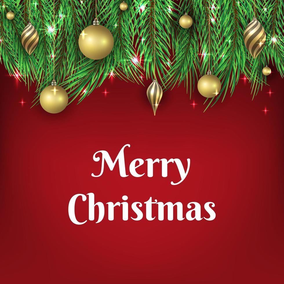 sfondo di Natale con ornamenti palla d'oro vettore