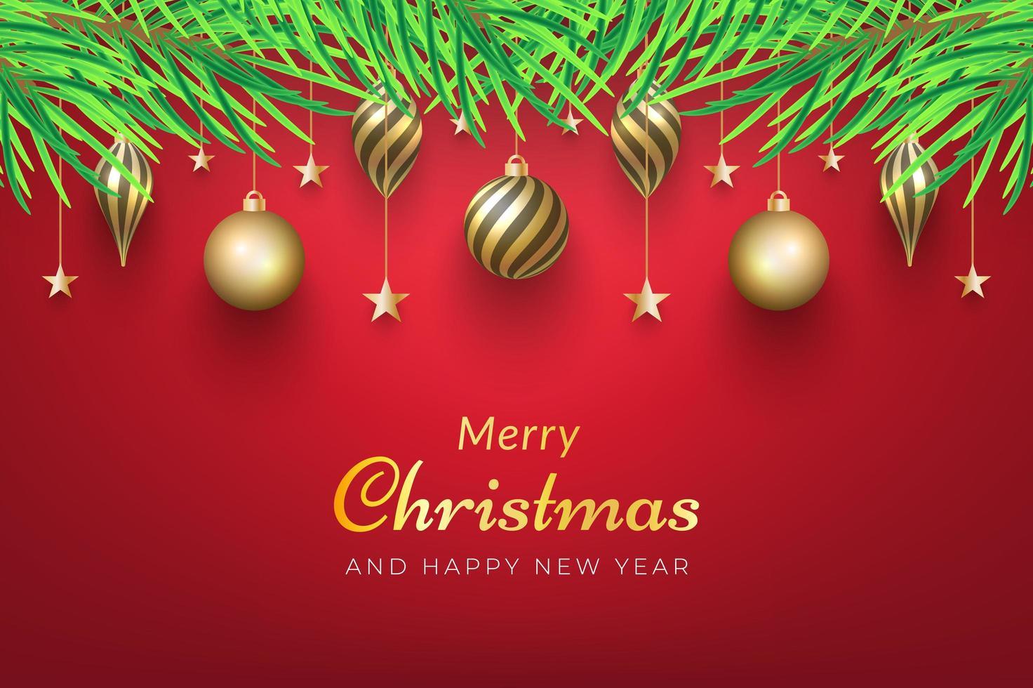 sfondo di Natale con ornamenti d'oro vettore